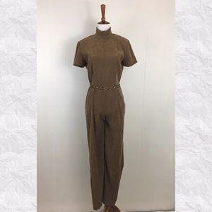 Vintage 90's Suede Look Mock Neck Jumpsuit W Chain